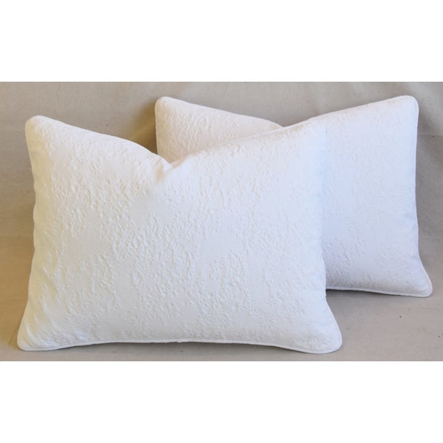 "French Provençal Quilted Feather/Down Pillows 23"" X 17"" - Pair For Sale - Image 12 of 13"