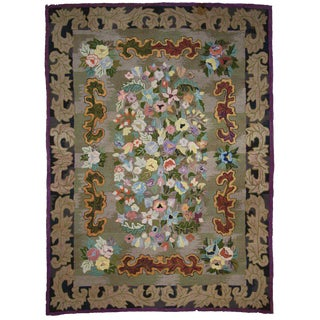 Antique American Hook Rug With Art Nouveau Baroque Style - 8′9″ × 11′10 For Sale