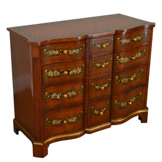 Maitland Smith Satin Wood Floral Hand Painted Serpentine Chest of Drawers For Sale