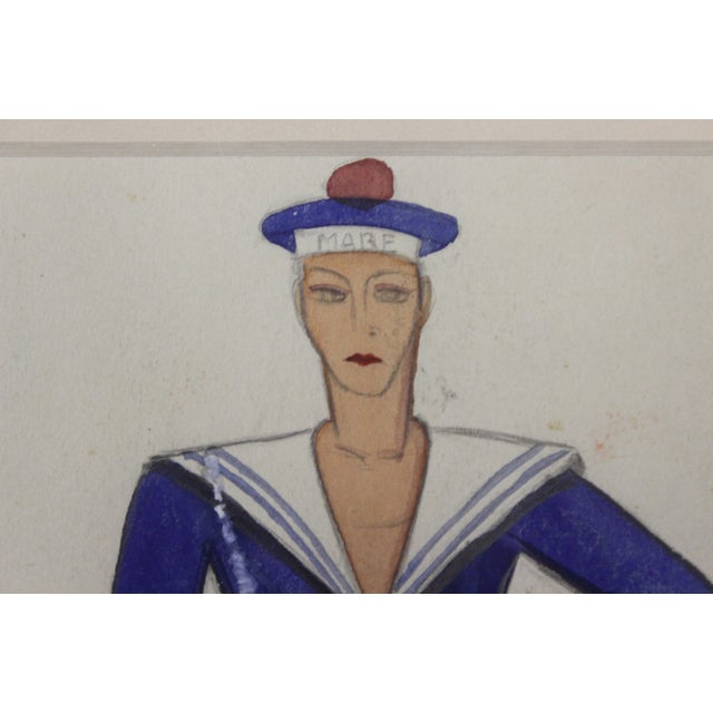 Vintage French Nautical Fashion Gouache - Image 3 of 3