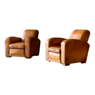 Vintage Leather Club Chairs a Pair For Sale
