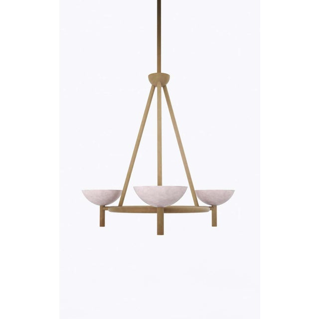 Material Lust Contemporary 200A Chandelier in Alabaster and Brushed Brass by Orphan Work, 2020 For Sale - Image 4 of 7