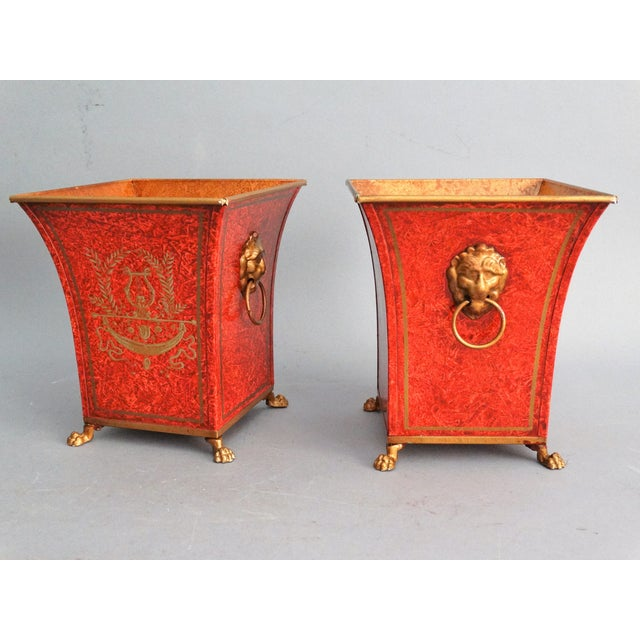 Pair Vintage Italian Chinoiserie Tole Urns, Cachepots For Sale - Image 4 of 8