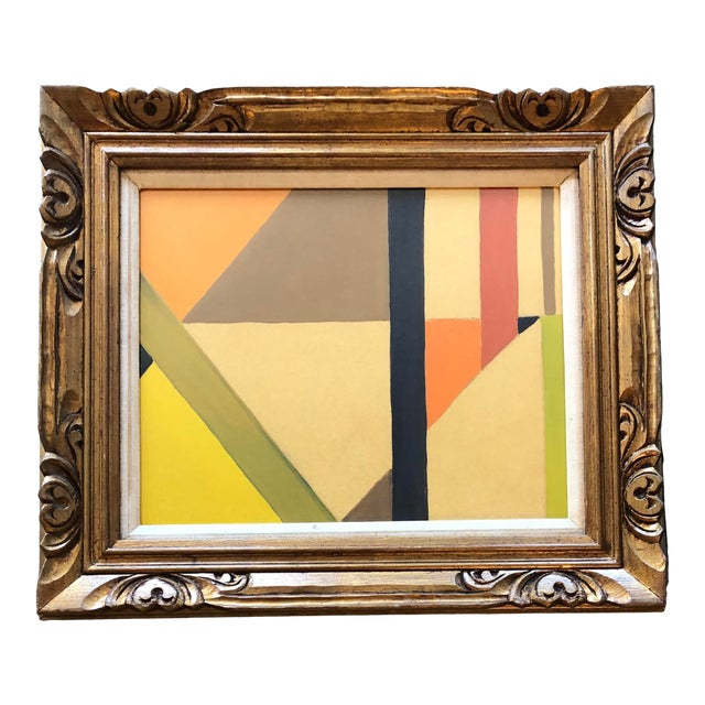 Mid Century Geometric Abstract Painting Ornate Frame For Sale