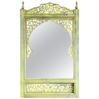 Moroccan Hand Carved Yellow Wooden Mirror For Sale