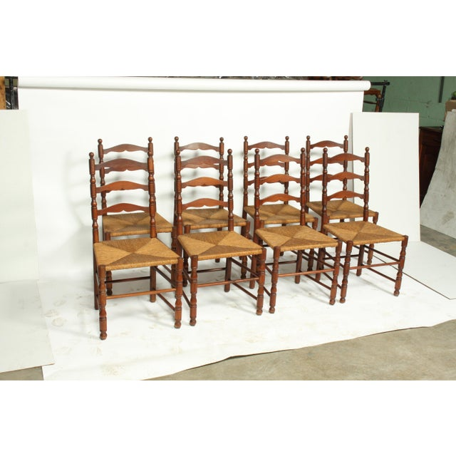 French Farmhouse-Style Walnut Ladder Back Dining Room Chairs With Rush  Seats S/8