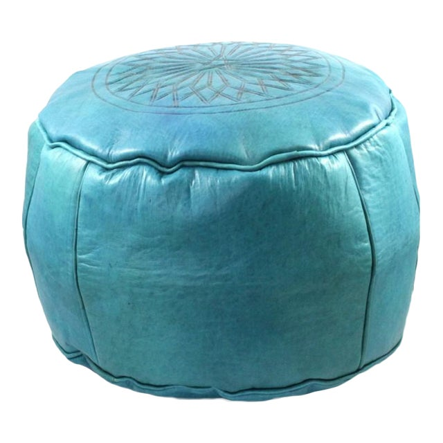 Turquoise Moroccan Leather Pouffe Ottoman For Sale