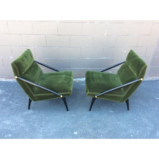 Hollywood Regency Mid-Century Mohair Side Chairs- A Pair For Sale - Image 3 of 7