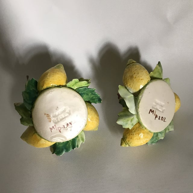 Italian Majolica Porcelain Lemon Candle Holders - a Pair For Sale In Charlotte - Image 6 of 11