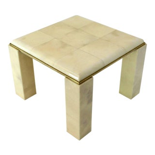 Lacquered Parchment Solid Brass Edge Trim Square Side Occasional Coffee Table For Sale
