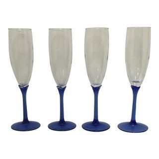 Vintage Blue Stem Libbey Champagne Flutes - Set of 4 For Sale
