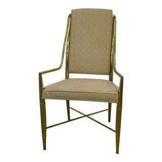 Mastercraft Style Solid Brass Bamboo Chair For Sale