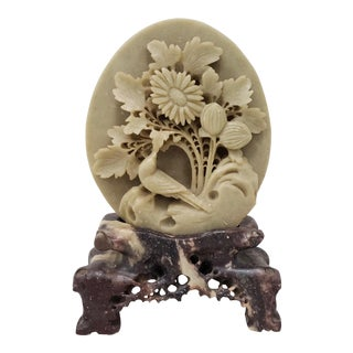 Vintage Chinese Soapstone Sculpture With Bird and Flowers For Sale