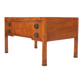 Mid-Century Modern Burl Wood One Drawer Hall Table For Sale