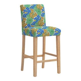 Bar stool in Loiret Blue Citrine For Sale