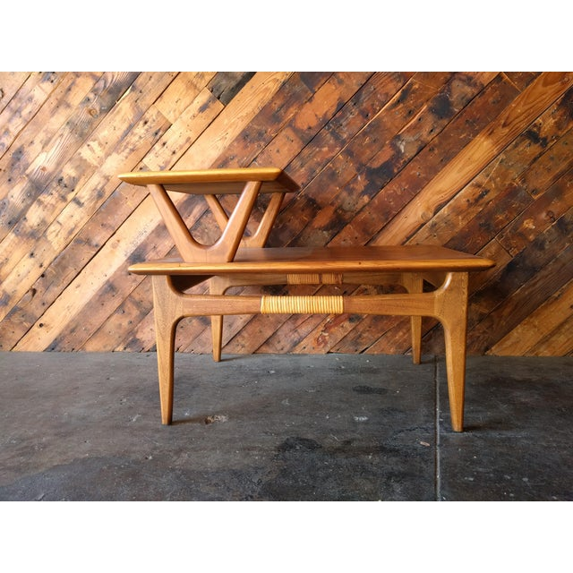 Mid-Century Modern Mid-Century Walnut Lane 2 Tiered Side Table For Sale - Image 3 of 11