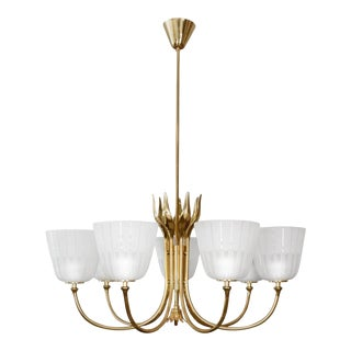 Mid Century Brass Chandelier by Borens For Sale