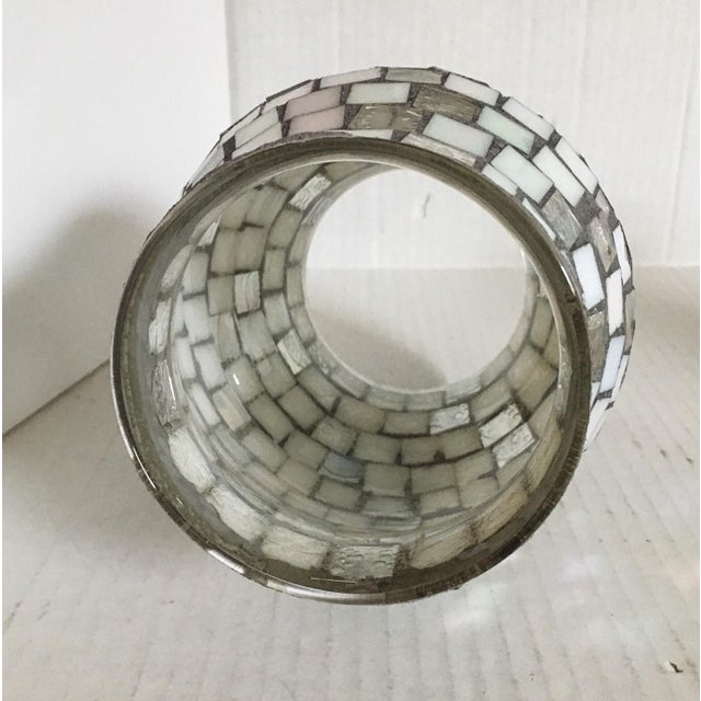 Silver & White Glass Mosaic Hurricane - Image 4 of 4
