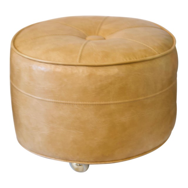 1970s Leather Moroccan-Style Pouf Ottoman For Sale