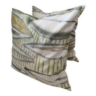 "Hand Dyed Linen ""Flora"" Throw Pillows by Hayley Carrow - a Pair For Sale"