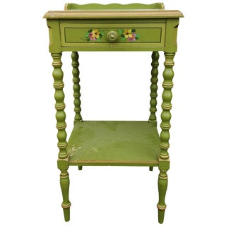 Antique Stihl Shabby Chic Hand- Painted Bed Side Table For Sale