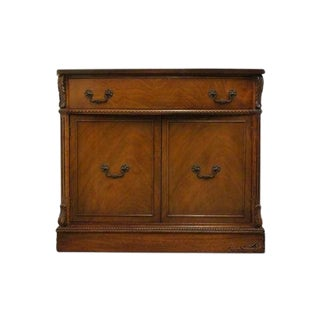 1940's Traditional Mahogany Bow Front Console Cabinet Buffet For Sale