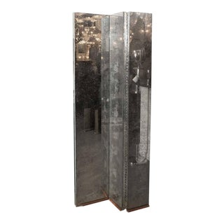 Gorgeous Mid-Century Antiqued Mirror Three-Panel Screen For Sale