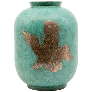 "Gustavsberg Argenta Vase""Leda and the Swan""Silver Overlay on Blue Green Ceramic For Sale"