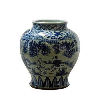 Chinese Blue and White Hand Painted Figure Decorative Vase For Sale
