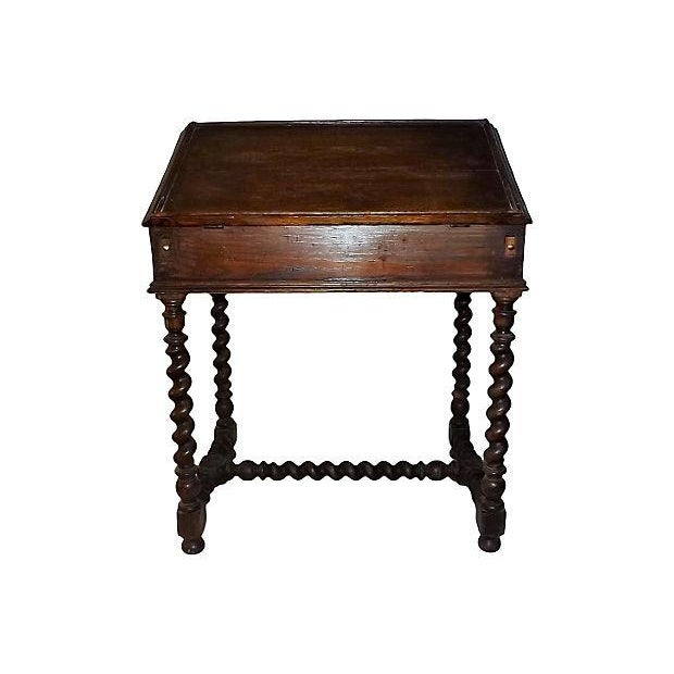 Brown English Jacobean Oak Desk on Stand For Sale - Image 8 of 8