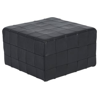 De Sede Black Leather Patchwork Cube Ottoman For Sale