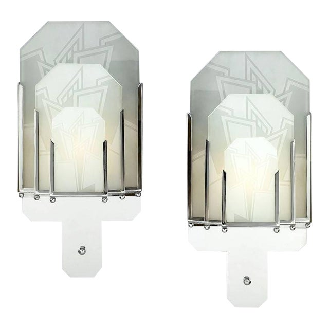 Pair of Frosted Glass Art Deco Sconces For Sale
