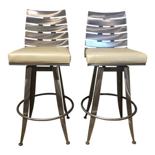 Johnston Casuals Modern Brushed Metal Bar Stools - a Pair For Sale
