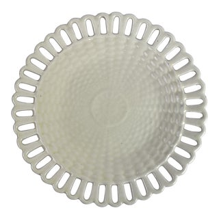 Creamware Basketweave Reticulated Plate For Sale