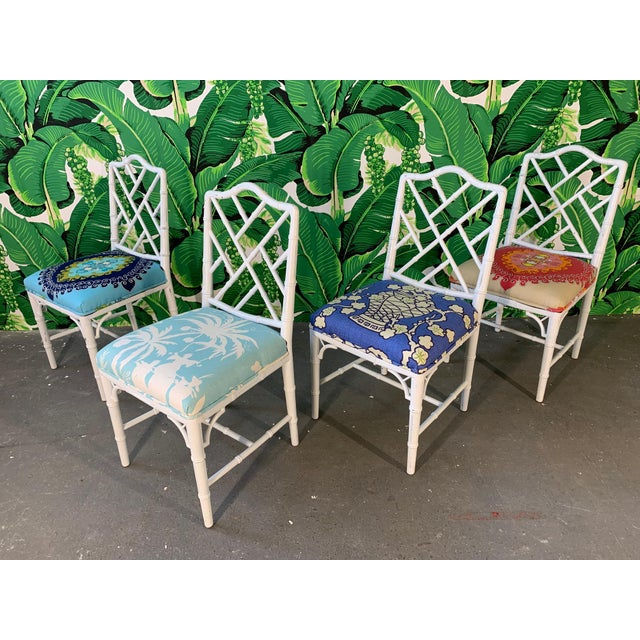 Faux Bamboo Chinoiserie Style Dining Chairs - Set of 4 For Sale - Image 10 of 10