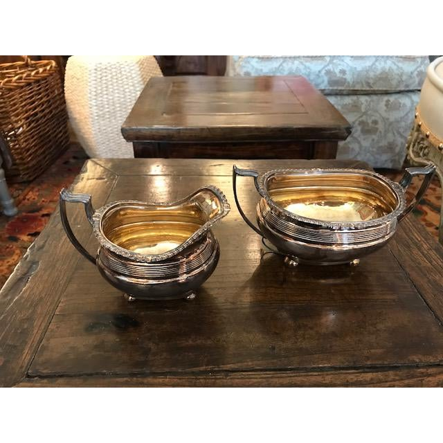 Antique Silver Plated Sugar and Creamer - A Pair For Sale - Image 4 of 6