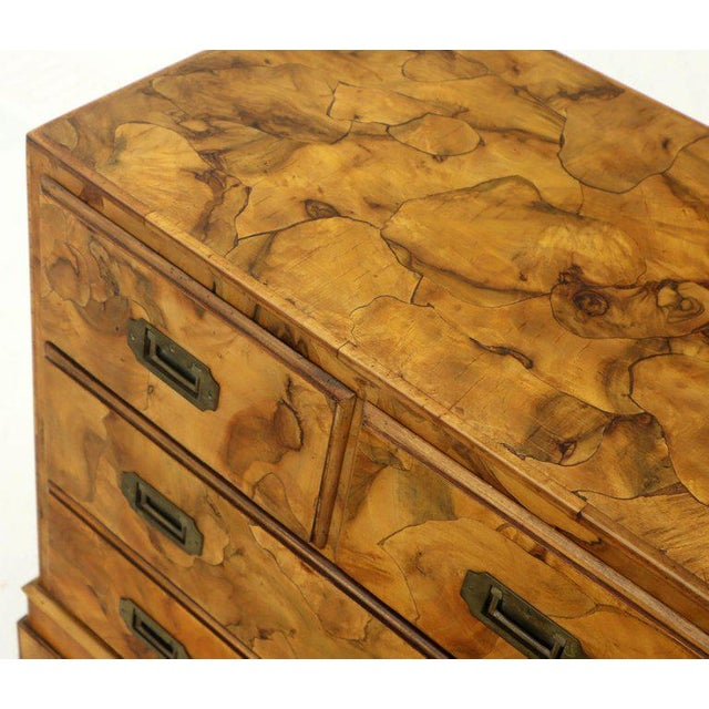 Campaign Style Patch Burl Olive Wood Small Bachelor Chest Dresser Cabinet For Sale - Image 10 of 13