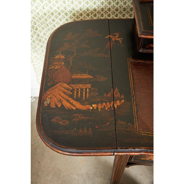 19th Century Regency Ebonized Chinoiserie Writing Table For Sale - Image 4 of 11