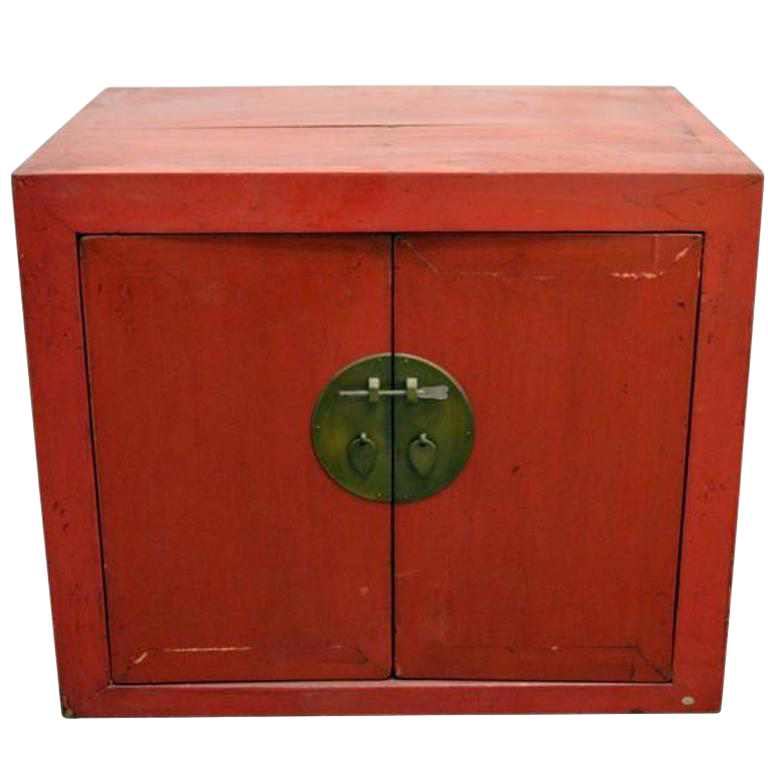 Antique Chinese Red Lacquer Cabinet With Brass Hardware From The 20th  Century For Sale