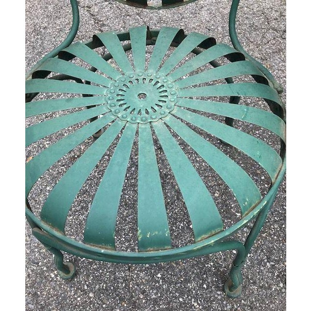 Nice Pair of Francois Carre Style French Sunburst Spring Steel Deauville Garden Chairs. I think the chairs were originally...