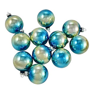 Aqua Ombre Glass Ball Ornaments - Set of 11 For Sale