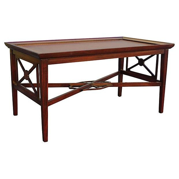 Coffee Table With Leather Top: Rectangular Leather-Top Coffee Table