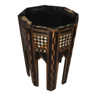 1920s Islamic Old Ornate Octagonal Inlaid Table Base For Sale