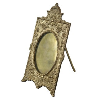 Maitland-Smith Baroque Handmade Antiqued Brass Desktop Photo Picture Frame For Sale
