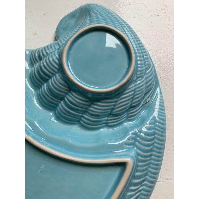 Blue Modern Vintage Sadek by Andrea Blue & Antique White Ceramic Oyster Shell Serving Platter For Sale - Image 8 of 9