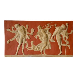 Vintage Grand Tour Style Wall Hanging Faun and Bacchante Relief For Sale