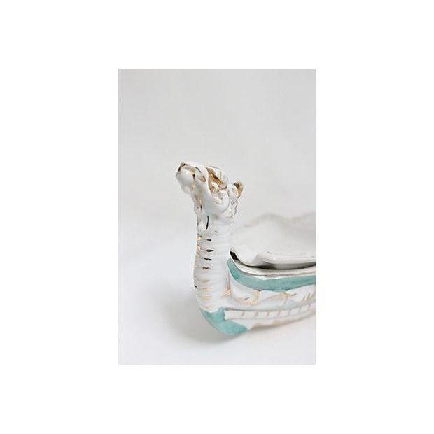 Hand Painted White & Teal Viking Ceramic Ashtray - Image 3 of 6