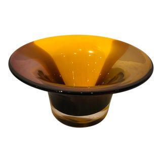 Contemporary Burnt Orange & Brown Blown Art Glass Bowl For Sale