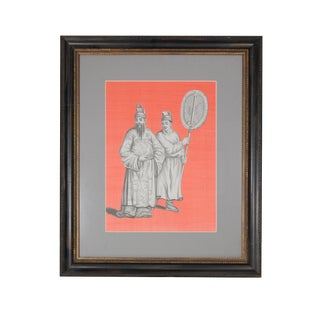 "Framed Grisailles Chinoiserie ""chinese Noblemen"" Painting on Coral Silk For Sale"