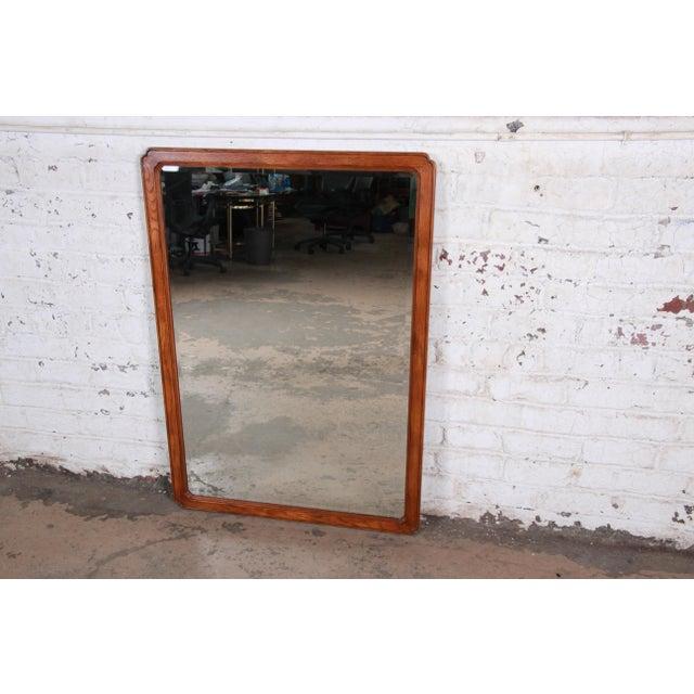 English Henredon Oak Beveled Mirror For Sale - Image 3 of 9
